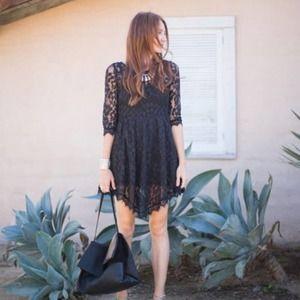 Free People Black Floral Lace Mesh Mini Dress